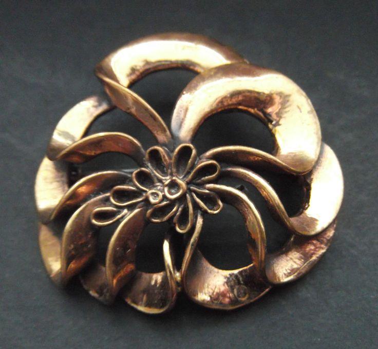 60er Mid-century Hannu Ikonen Finnland Bronze BROSCHE MODERNIST JEWELRY  BIJOUX