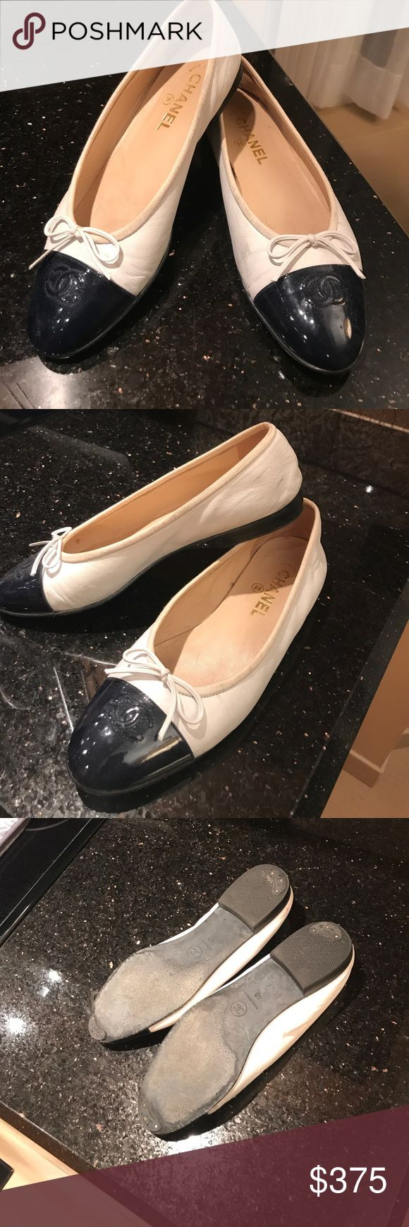 Chanel White and Navy Patent Tip Ballet Flat 40/9 The classic flat. Nice condition. Bottom has light wear and taps are there for protection. A few minor scuffs but polish can make them perfect. Gorgeous shoes CHANEL Shoes Flats & Loafers