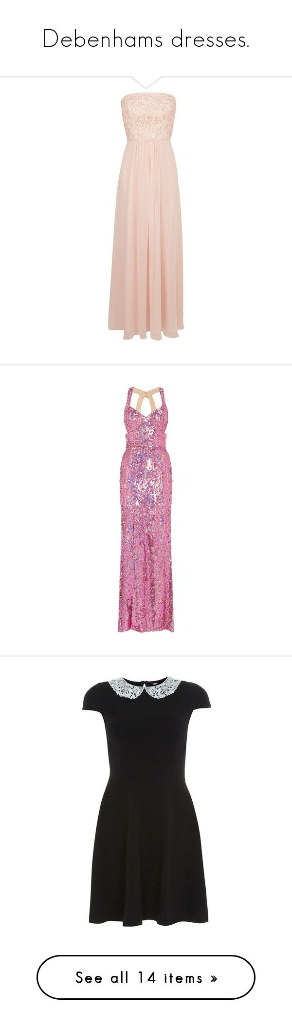 """Debenhams dresses."" by crazygirlandproud ❤ liked on Polyvore featuring dresses, pink dress, maxi dress, maxi length dresses, pink maxi dress, pink sequin dresses, pink sequin cocktail dress, purple cocktail dresses, fuschia dress and sequined dresses"