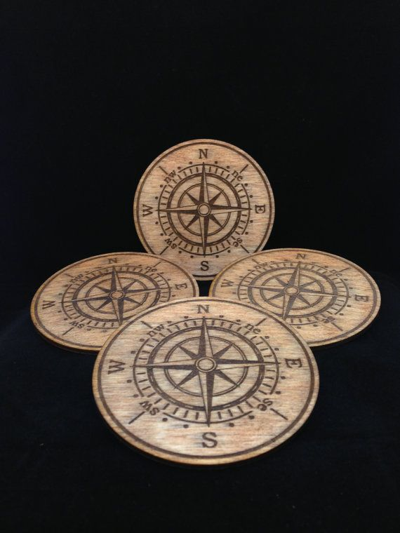 Laser Cut and Engraved Nautical Compass Rose Birch Wood Beverage Coasters