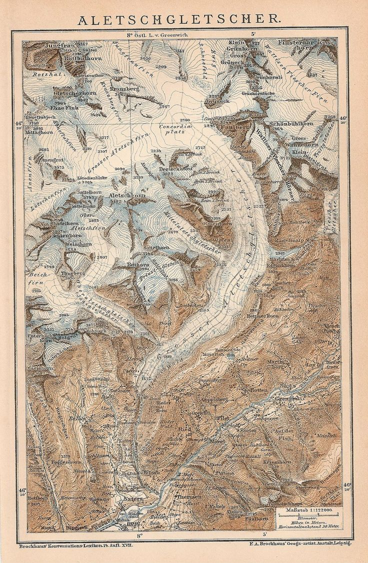 This map, drawn in 1895, shows the Aletschgletscher (Aletsch Glacier), the largest glacier in the Alps.