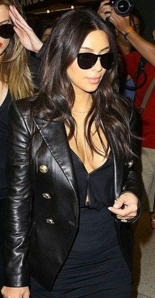 Kim Kardashian Balmain Leather Jacket