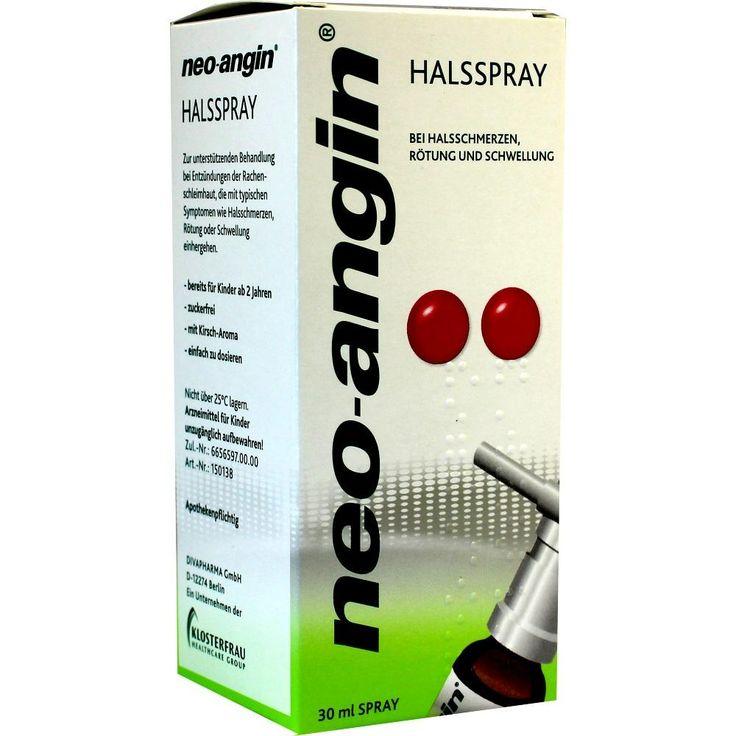 NEO ANGIN Halsspray:   Packungsinhalt: 30 ml Spray PZN: 01841753 Hersteller: MCM KLOSTERFRAU Vertr. GmbH Preis: 5,93 EUR inkl. 19 % MwSt.…