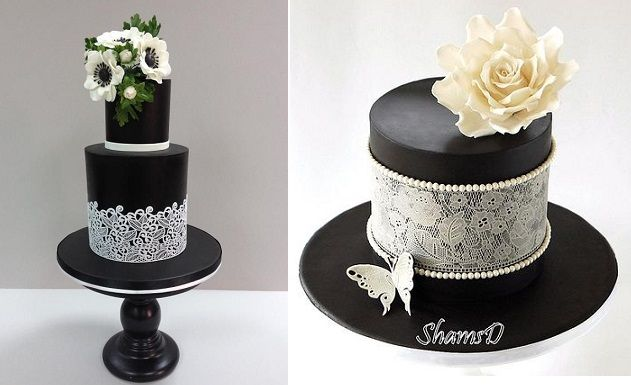 black cakes with white lace by Tres Chic Cupcakes left and Manal Cakes right