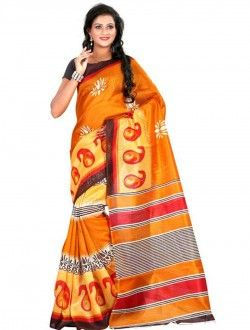 Casual Wear  Orange Bhagalpuri Silk Printed Saree