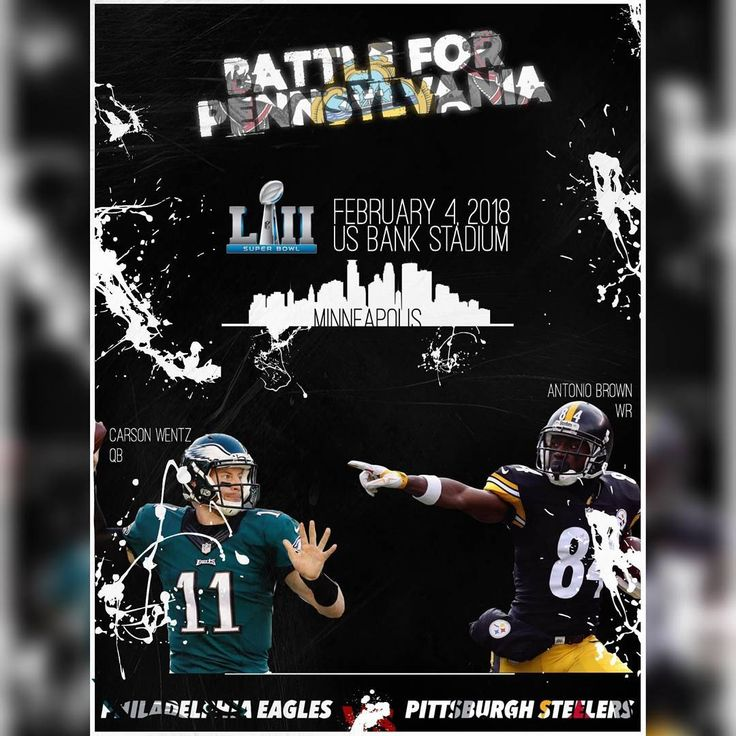 Super Bowl 52 | Battle for Pennsylvania  Earlier this year before the season started I said that I wanted a Super Bowl 45 rematch between the Steelers and Packers.  Going by the current standings and teams' likelinesses to go to the Playoffs this is a refreshed prediction. I feel like this would be a fantastic Super Bowl as well.  #nfl #americanfootball #football #pittsburgh #philadelphia #eagles #steelers #philadelphiaeagles #pittsburghsteelers #carsonwentz #antoniobrown #superbowl…