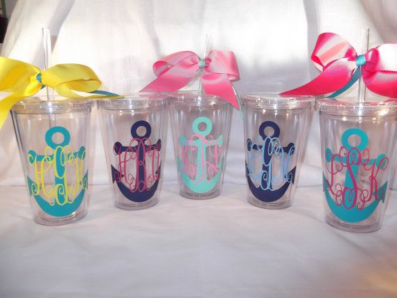 Monogrammed anchor tumbler  16 ounce cups by ThePoshDiva on Etsy, $9.00 fun gift ideas!