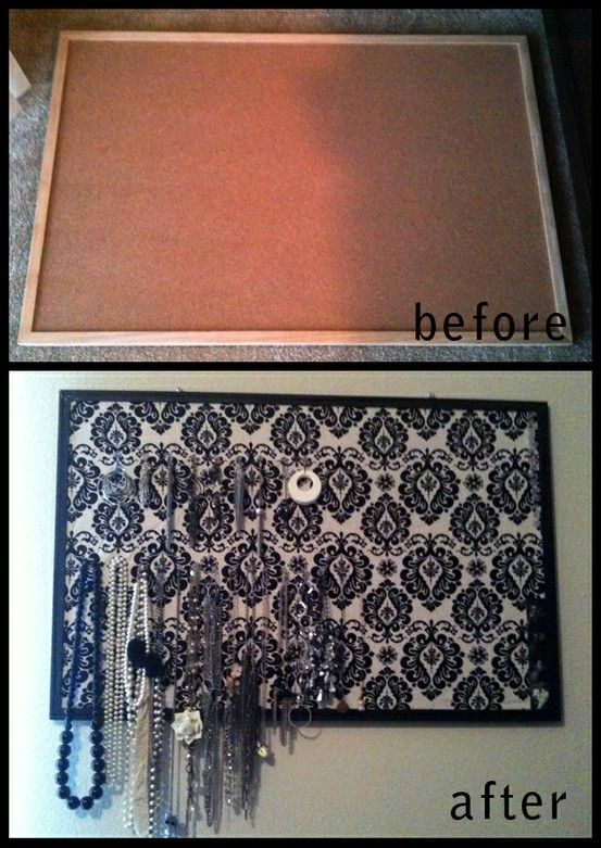 Re-purposed bulletin board used to hang jewelery. - Click image to find more DIY & Crafts Pinterest pins