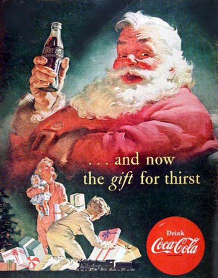 Coca-Cola Santa Claus Gift Giving Kids - www.MadMenArt.com   Coca-Cola is more than a brand or a logo. It's a part of American culture - for some people attitude to life and lifestyle. Mad Men Art presents more than 200 vintage Coke ads. #CocaCola #Coke #Cola #VintageAds