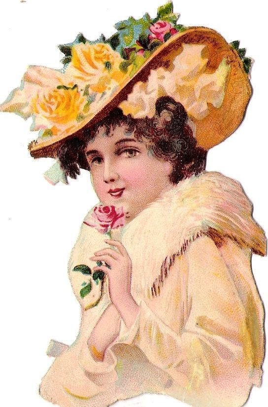 Oblaten Glanzbild scrap die cut chromo Dame lady 10,5 cm femme  Hut  hat rose