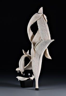 Обувь, вырезанные из дерева, высокий каблук обуви искусства резьбы по дереву