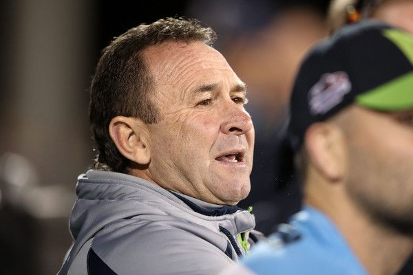 Raiders coach Ricky Stuart watches on from the bench during the round 14 NRL match between the Penrith Panthers and the Canberra Raiders at Carrington Park on June 10, 2017 in Bathurst, Australia.