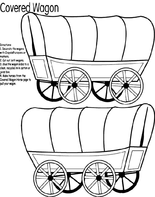 decorate the covered wagons using crayola crayons colored pencils or markers 2 cut out both wagon shapes 3 glue the wagon shapes to opposite sides of