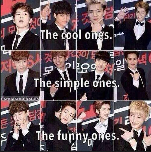 Cool Ones- Xiumin Kai Sehun and Kris Simple Ones- Lay Baekhyun D.O. Suho Funny Ones- Chen Chanyeol Luhan Tao
