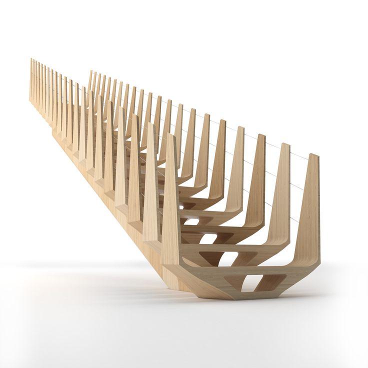 Элитная деревянная лестница Фур1 - luxury wooden stairs Fur1