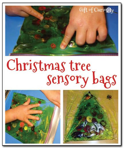 Christmas tree sensory bags - enjoy some Christmas sensory play with just a few simple materials. Plus the bag keeps this activity mess free!  || Gift of Curiosity