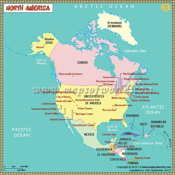 #NorthAmerica #Map for #kids depicts rivers, lakes, oceans, national parks, mountains, and monuments.
