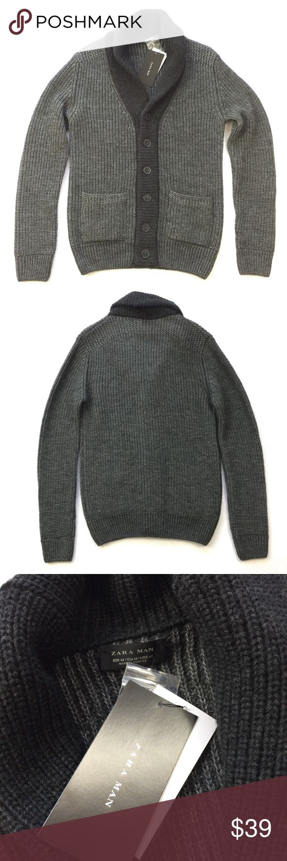 """NEW •• Zara Man • Cable Knit Cardigan Sweater Stylish and warm imported sweater by Zara Man. It's a great grab and go sweater that's just thick enough to be worn year round. Perfect for date night, casual get togethers, or even under a light jacket when layering up.  Measurements (Approx) Pit to Pit: 19.5"""" Length: 27.5"""" Arm: 28""""  Comes from a pet free smoke free home. (MD2-DWN) Zara Sweaters Cardigan"""