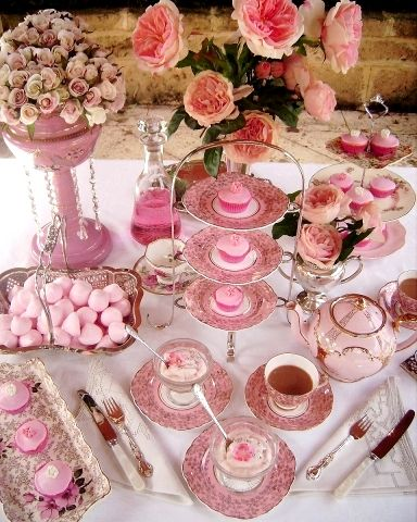 Shabby Chic Tea Party. Such a pretty idea, pretty pink High Tea. Could also be used for a Breast Cancer Tea.
