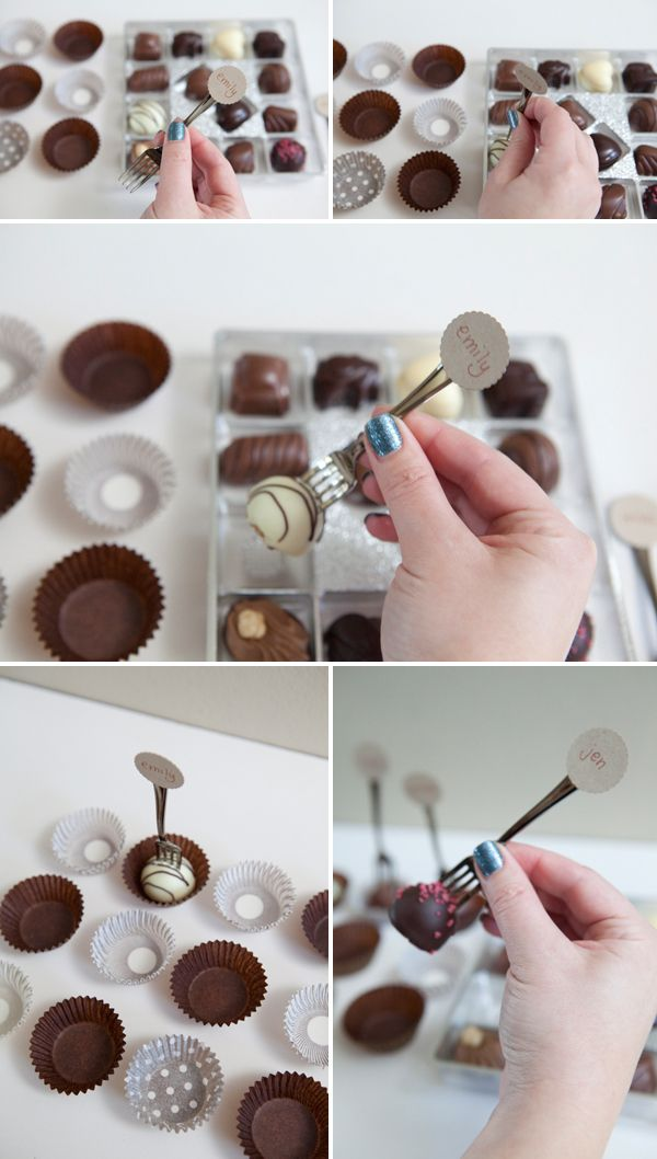 DIY: mini fork + truffles + guest name = adorable, and yummy wedding seating cards!