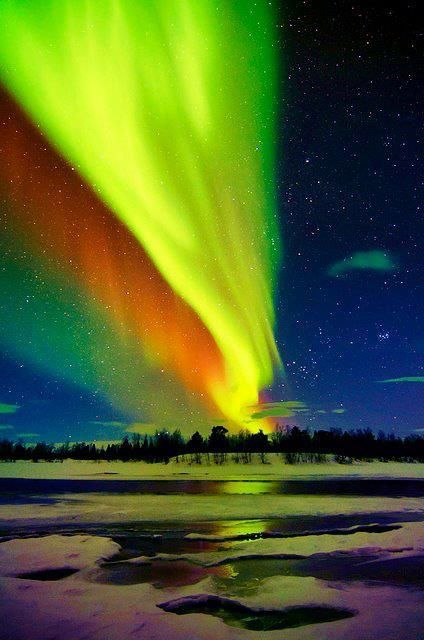 Multi-coloured Aurora Borealis