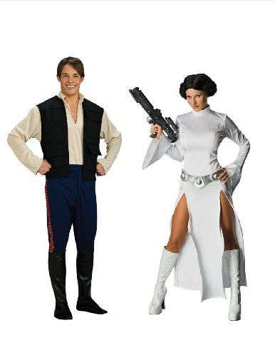 Star Wars Dlx Han Solo Std & Princess Leia Medium Couples Costume Set | Shop Halloween Costumes | Couple Costumes | Zombie Infested World | http://www.zombieinfestedworld.com/halloween-costumes-for-couples.html  #halloween #couplescostumes #parties