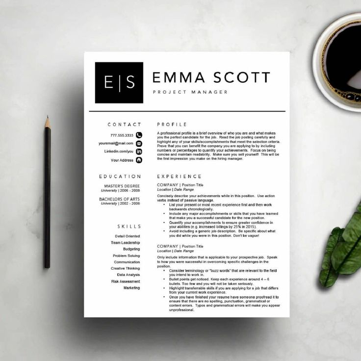 """This """"modern resume template"""" comes from a competitor of the last one, WriteResumeDesignCo on Etsy. On this resume, they take that old-school black and white and reframe it into something modern and pleasing to the eye. The header at the top shouts your name and initials for long-time remembrance."""