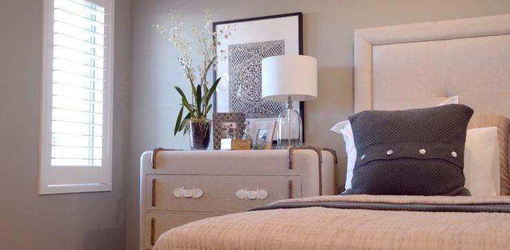 Master bedroom. Main bedroom styling. Interior design. Pillows. Dresser.