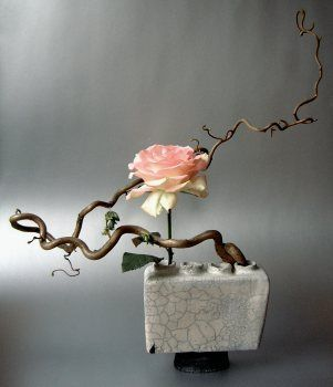 Geometric shaped arrangement with soft pink petal rose and twisted branch. ikebana_1 by meoxiem, via Flickr