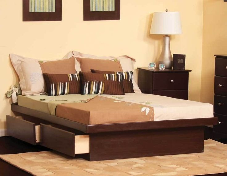 No Headboard Or Foot Board Has 2 Drawers On Each Side Great Color Platform Bed With Storagequeen Size