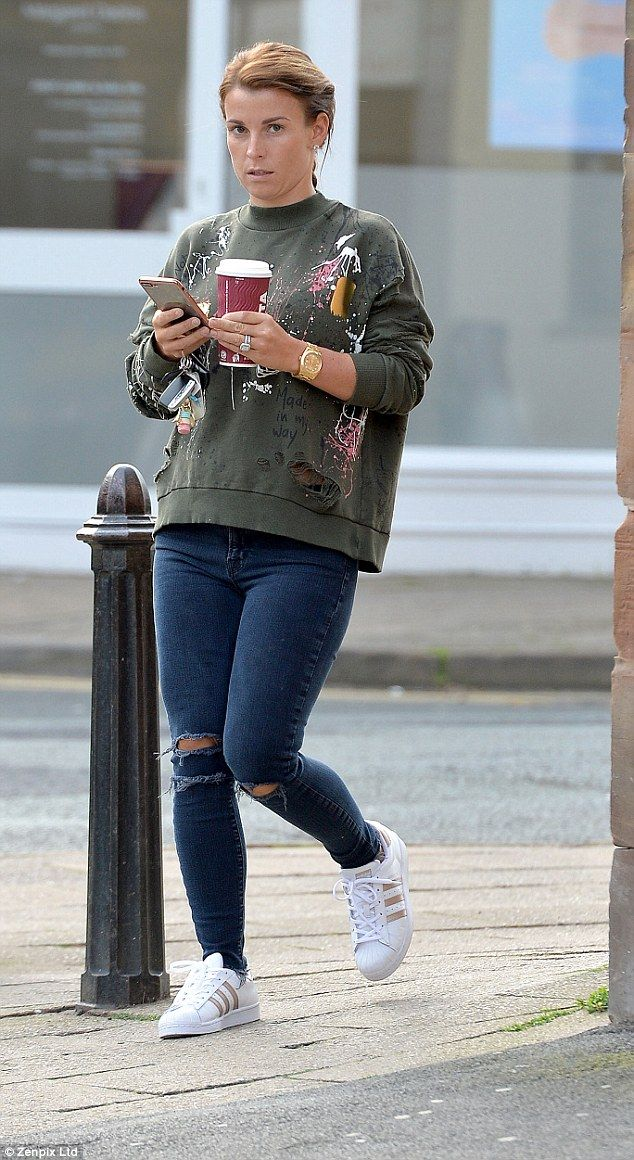 Costa Coleen! Super WAG Mrs Rooney grabs a cup of coffee on the go as she runs early morning errands around Cheshire in paint splattered sweater