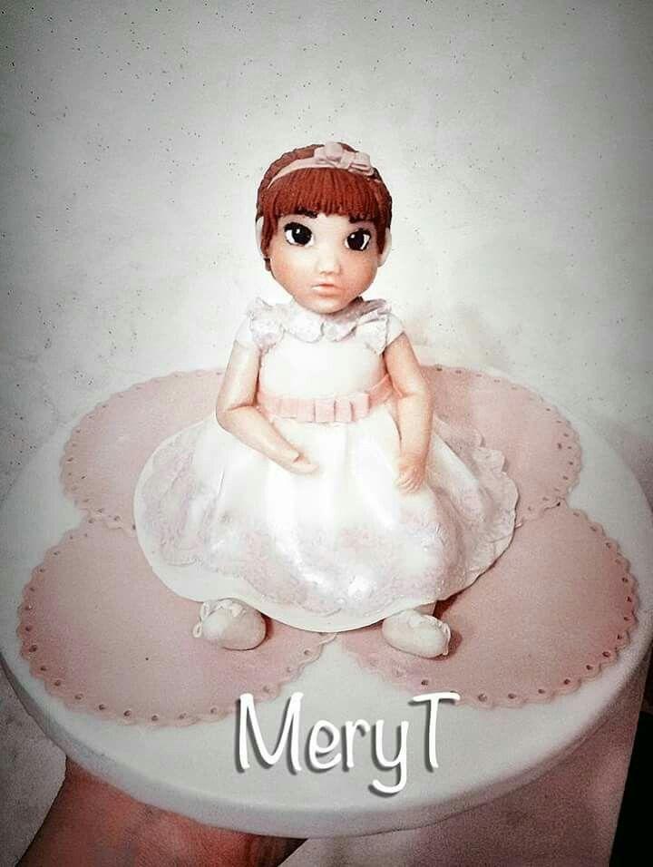 Cake topper baby battesimo in pasta di mais,porcelana Fria, cold porcelain, porcellana fredda