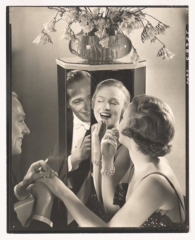 """Ad for Coty lipstic around 1930 by steichen.... """"The colour suits you...milady...not so sure his wife would agree!"""" #oldphoto#oldphotograph#photography#fashion#vintagefashion#style#blackandwhitephotography#blackandwhite#icon#legend#steichen#edwardsteichen#mirror#reflect#reflection#style#class#milady#beautiful#portrait#oic#picoftheday#pictureoftheday#image#coty#lippy#lipstick#deco#artdeco#1920s#1930s"""