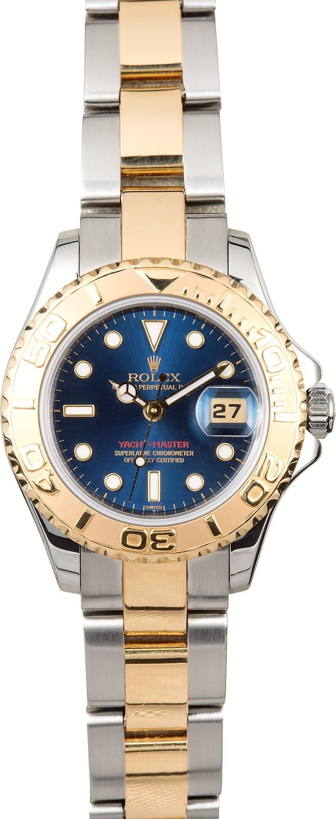 Manufacturer: Rolex   Model Name/Number: Yacht-Master 69623   Serial/Year: U 1997-1999   Grade: (What's This?) II   Gender: Ladies   Features: Automatic 2135 movement, scratch-resistant sapphire crystal, waterproof screw-down crown, Quickset date   Case: Stainless steel w/ 18k yellow gold rotatable time-lapse bezel (29mm)   Dial: Blue w/ white luminous hour markers and hands   Bracelet: Stainless steel and 18k yellow gold Oyster w/ Oysterlock cla...