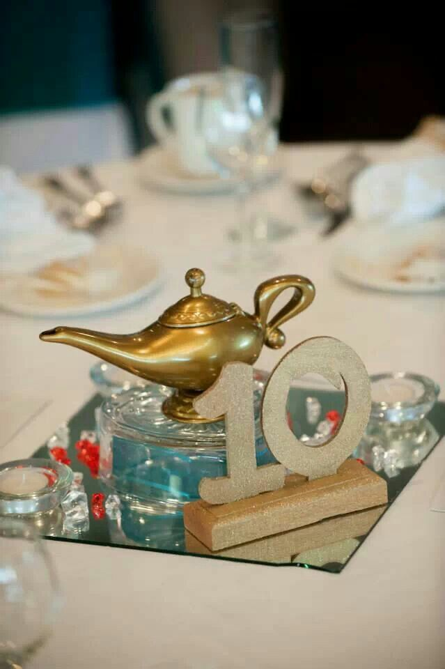 Aladdin wedding centerpieces from my wedding. Genie lamps were bought from an online party store. Used Disney lettering and had table numbeds hand made. Used gems to resemble the cave of wonders.
