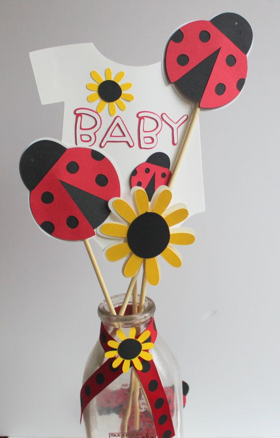 Lady Bug Baby Shower Centerpiece Picks by CalladooPartyShop
