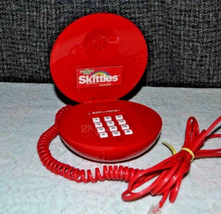 VINTAGE RED SKITTLES PHONE - 1990s NOVELTY TELEPHONE - CORDED LANDLINE PHONE