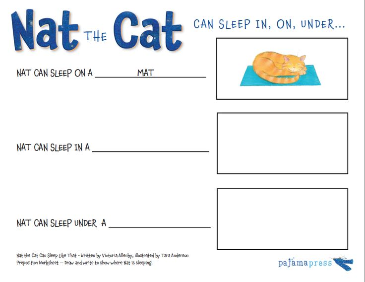 Worksheet for using Nat the Cat Can Sleep Like That to teach young children about prepositions