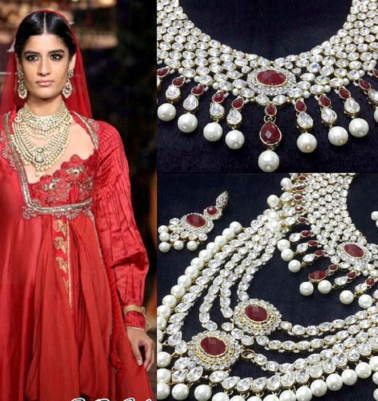 Diwali Special Indian Bollywood Kundan Red Ruby Pearls Jewelry Set #Goldjewellery17