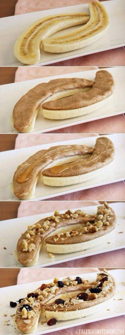 Banana, almond butter, nuts, and raisins! :))