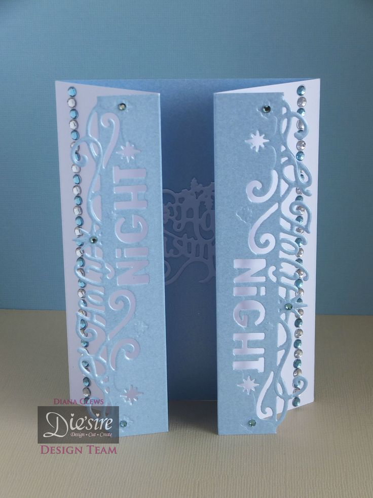 Diana Clews. Fold-back Gate Fold Card - Die'sire Edge'ables – Christmas Only words – O Holy Night. Die'sire Classiques – Christmas Only Words – Happy Christmas. Centura Pearl – Fresh Blue. Easy Crystals – Lagoon. #crafterscompanion #Christmas