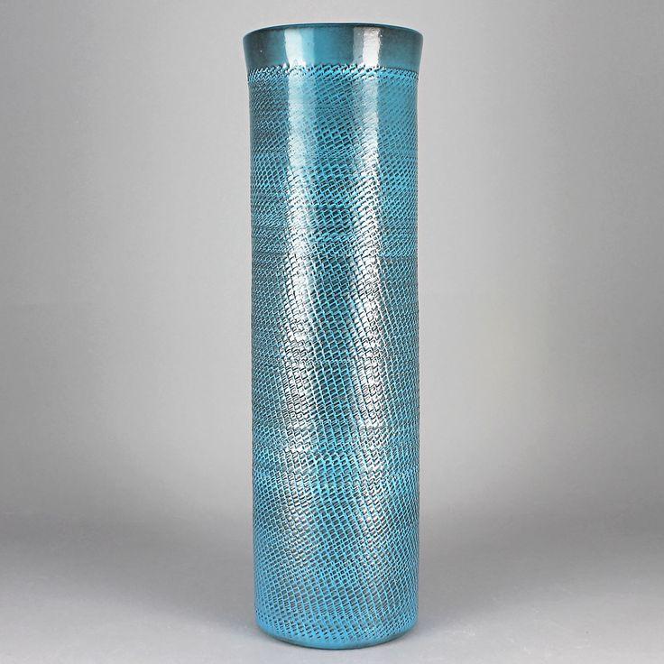 Ingrid Atterberg (Breeze 1960s) String Turquoise Cylinder Vase