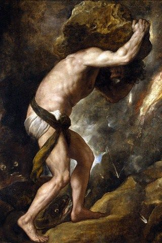 Titien, Le châtiment de Sisyphe, huile sur toile, 237 x 216 cm, 1548-1549
