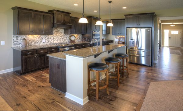 Stained Cabinets, White Trim