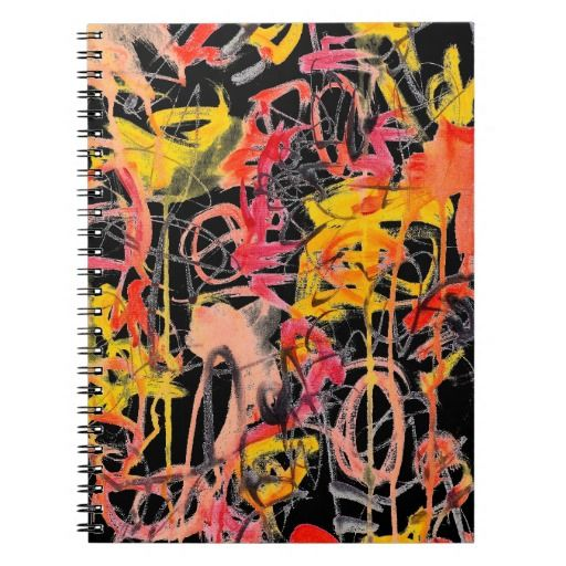 Abstract Painting Notebook - red black yellow art