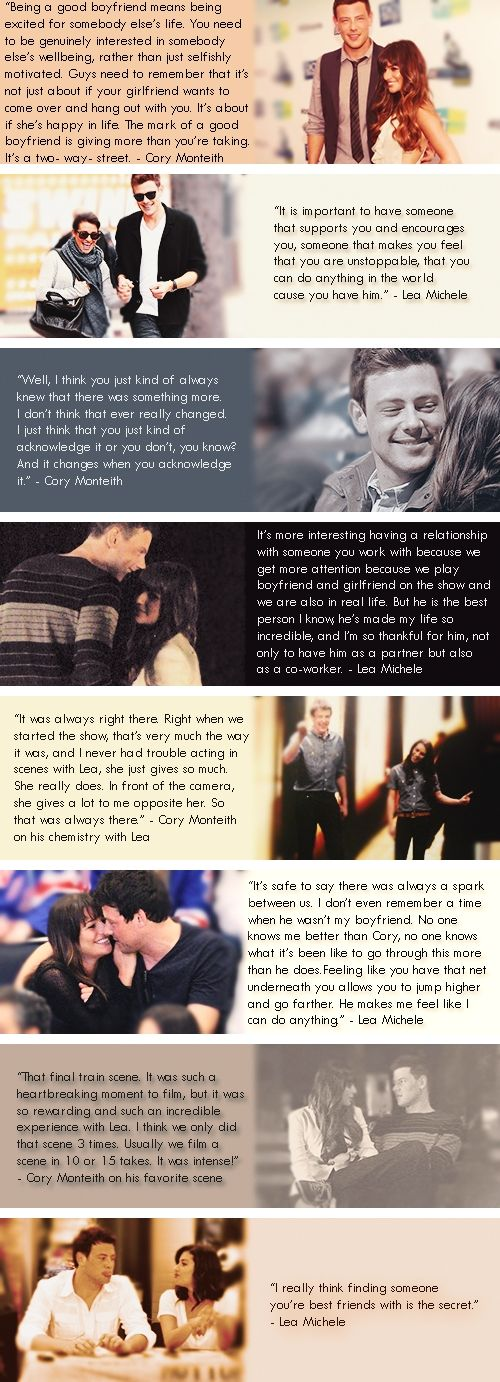 """I don't even remember a time when he wasn't my boyfriend."" Lea Michele and Cory Monteith (Monchele)"