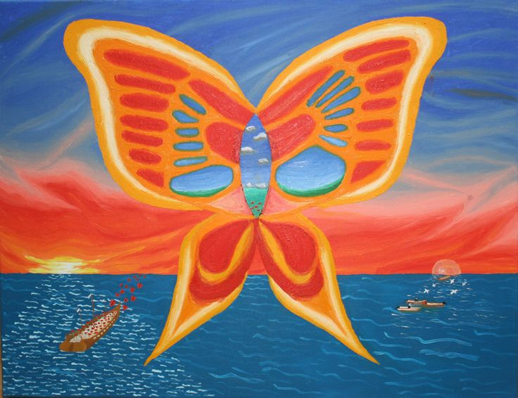 """Butterfly Over The Sea"" ulei pe panza 50x65 cm - oil on canvas 20x25 inches"