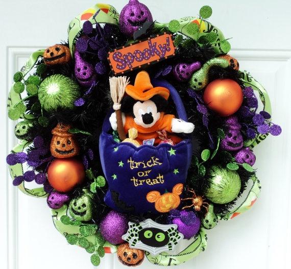 disney halloween wreath mickey mouse trick by sparkleforyourcastle 6900 - Disney Halloween Decorations