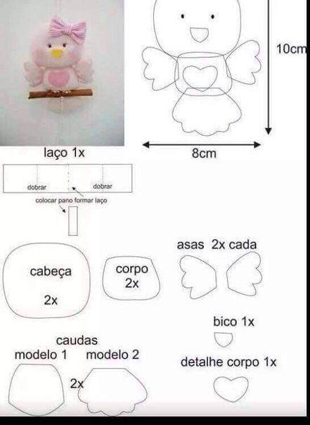 ARTESANATO COM QUIANE - Paps,Moldes,E.V.A,Feltro,Costuras,Fofuchas 3D: molde passarinho de feltro delicado!