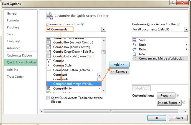 Add The Compare And Merge Workbooks Feature To The Quick Access Toolbar Excel Excel Shortcuts Excel Tutorials